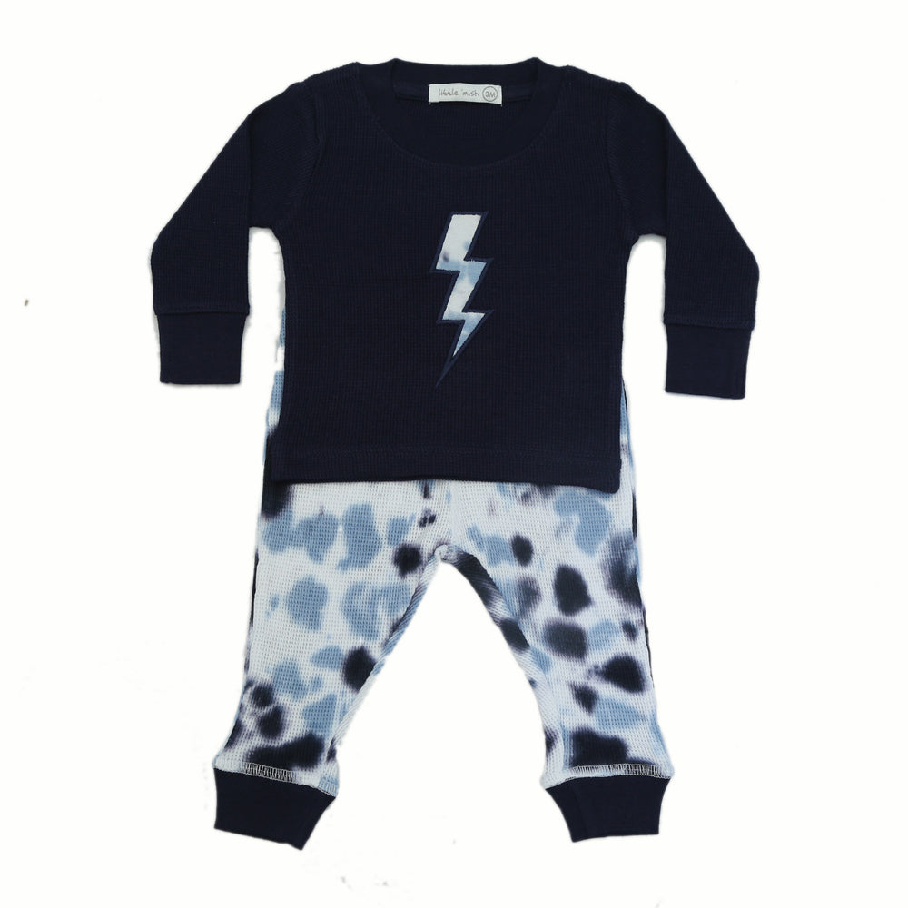 NEW FW20 Little Mish Thermal Pants Set - Navy Tie Dye With Lightning (4654406991947)