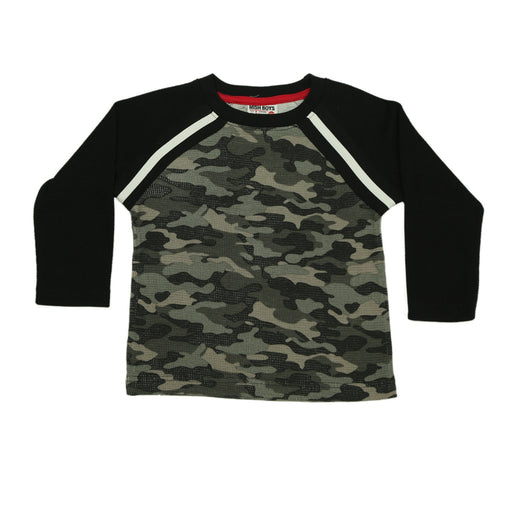 NEW Long Sleeve Thermal Shirt - Black Distressed Camo Raglan (4659446546507)