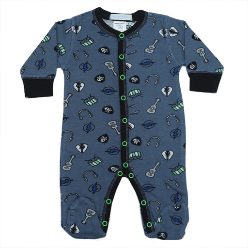 New Baby Steps Footie - Rock N' Roll on Denim (4697838616651)