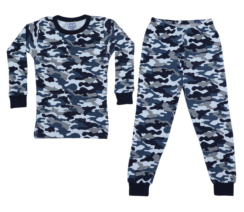 New Little Mish Thermal Pajamas - Navy Camo (4690782879819)