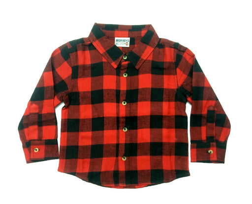 NEW!  Long Sleeve Flannel Shirt - Red/Black (4686538440779)
