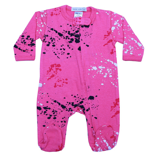 NEW SS21 Little Mish Footie - Pink Splatter (4698405175371)