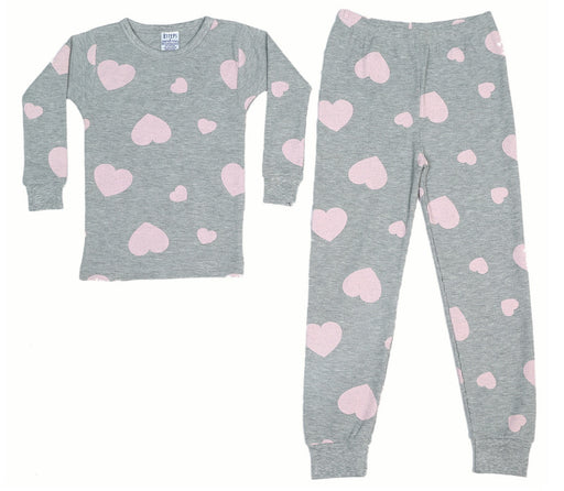 New BSteps Thermal Pajamas - Pink Hearts on Heather (4691810320459)