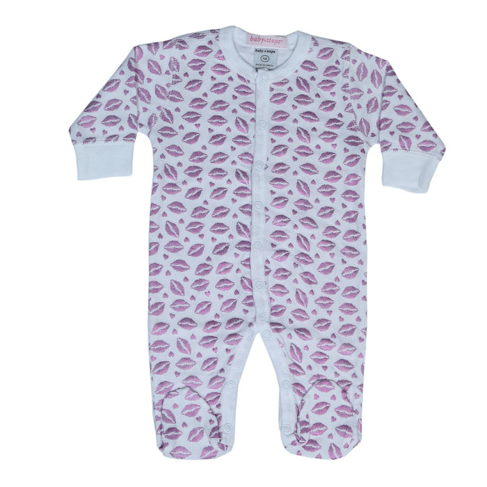 NEW!  Footie - Lilac Foil Kisses **100% organic cotton** (4697610616907)