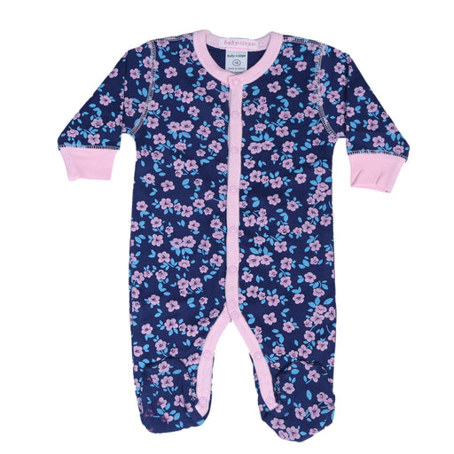 Baby Steps Footie - Floral on Navy **100% organic cotton** (4697611141195)