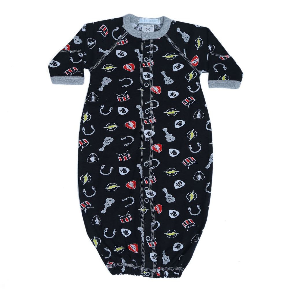 New Baby Steps Converter Gown - Rock 'N Roll on Black (4698099155019)