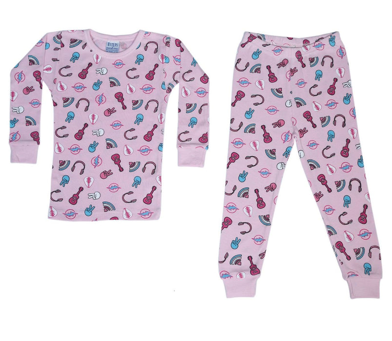 New BSteps Pajamas - Rock 'N Roll on Pink (4693535817803)