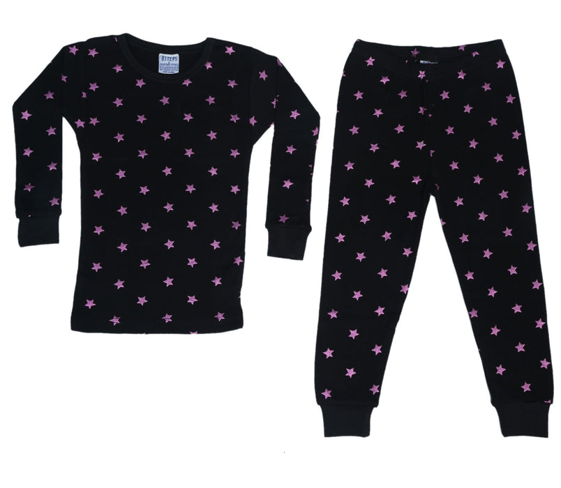 New BSteps Pajamas - Pink Foil Stars on Black (4692234633291)