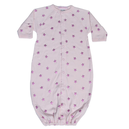 New Baby Steps Converter Gown- Pink Foil Stars on Pink (4698106691659)
