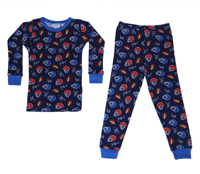 New BSteps Pajamas - Football on Navy (4696963317835)
