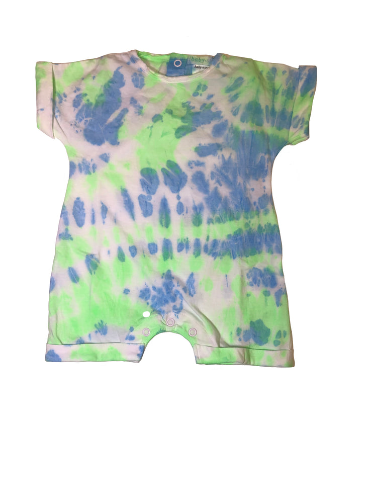 NEW Tie Dye Romper - Neon Blue/Neon Green (4534015393867)