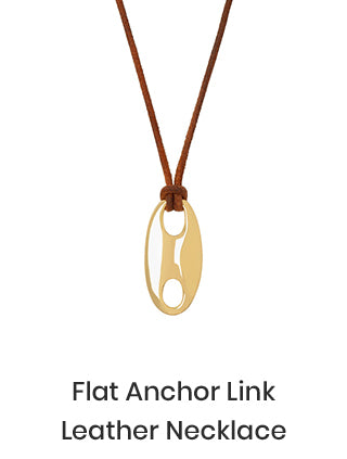 Flat Anchor Link Leather Necklace