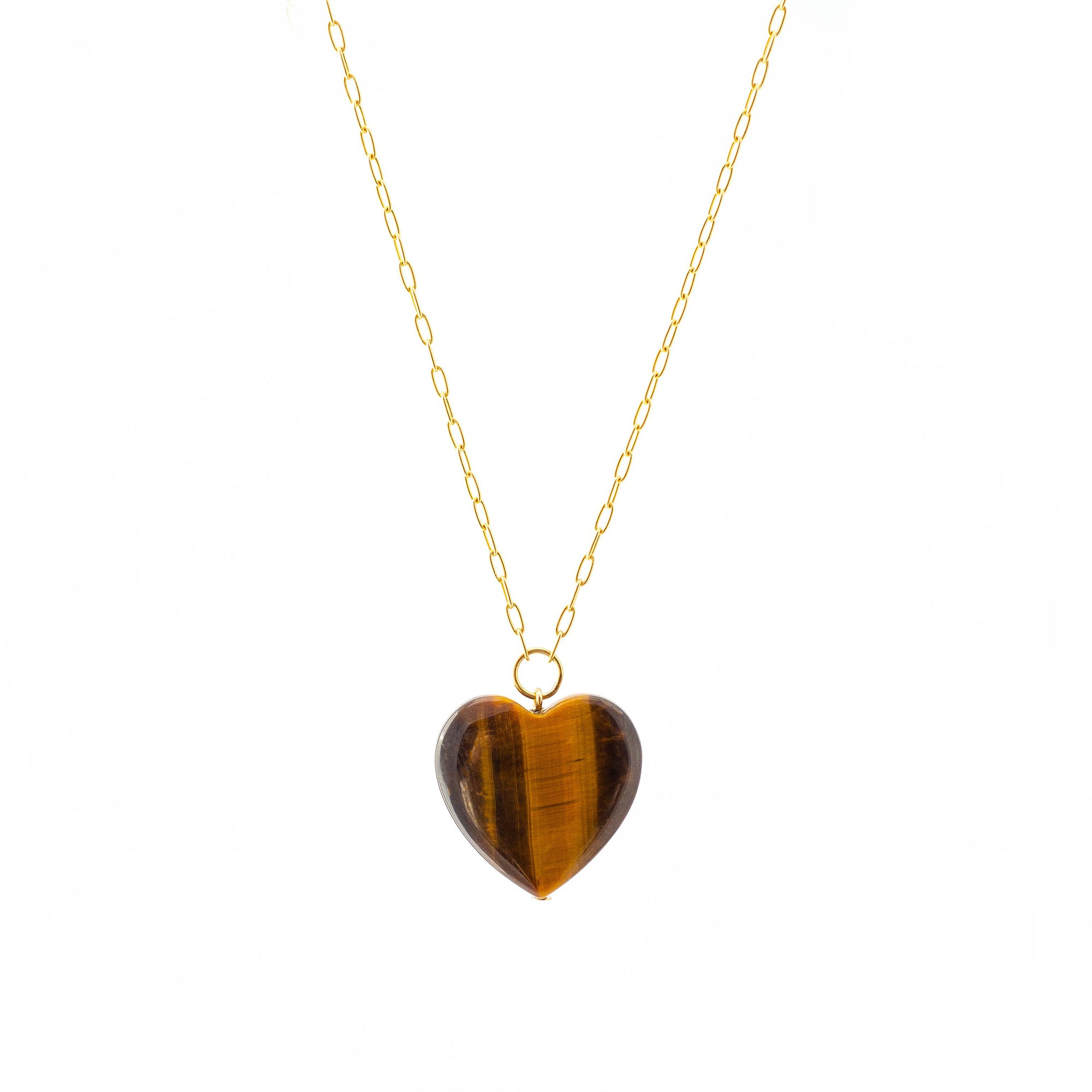 Haute Victoire Heart Necklace - Tiger's Eye - Necklaces - Broken English Jewelry
