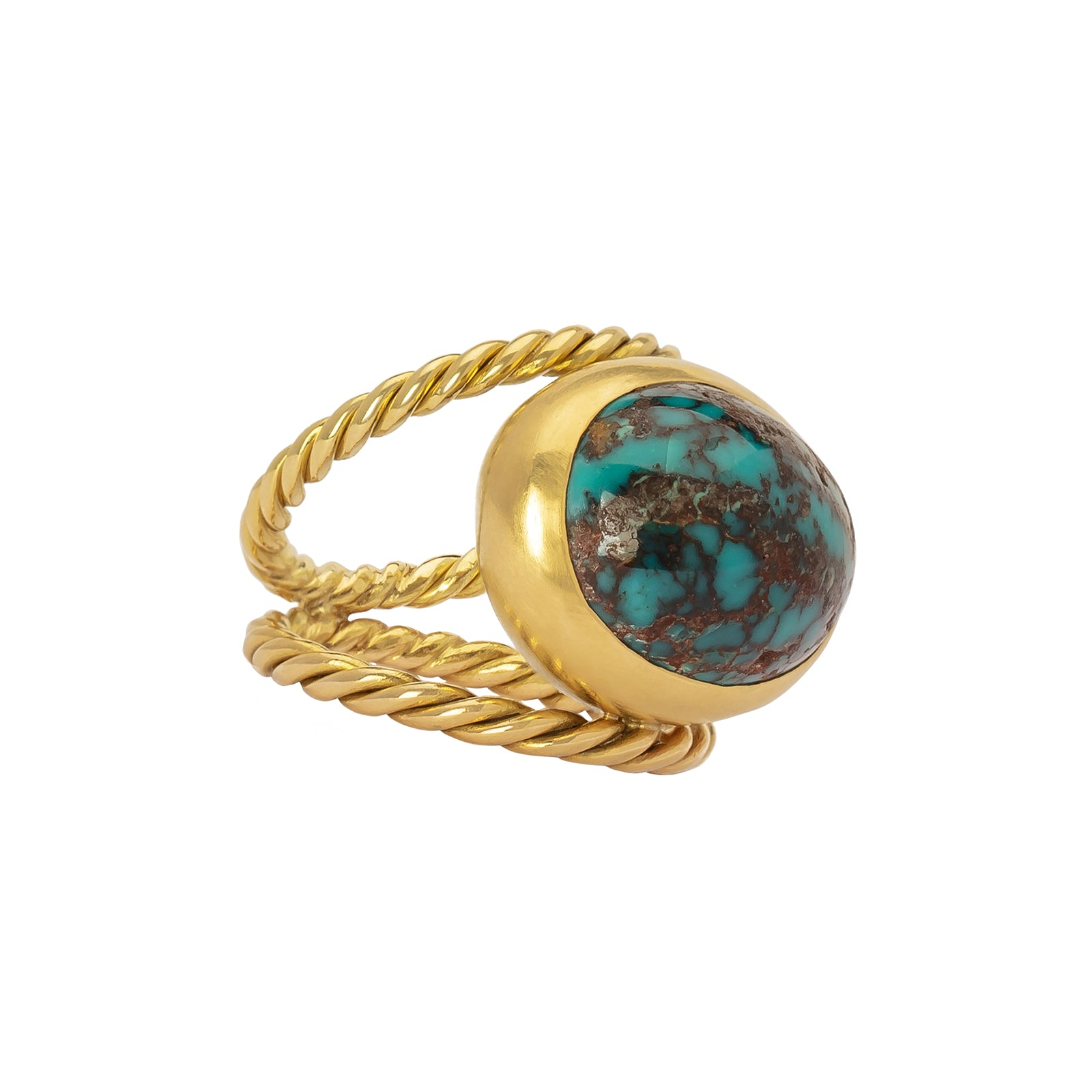 Haute Victoire Hand Twisted Gold Ring - Turquoise - Rings - Broken English Jewelry