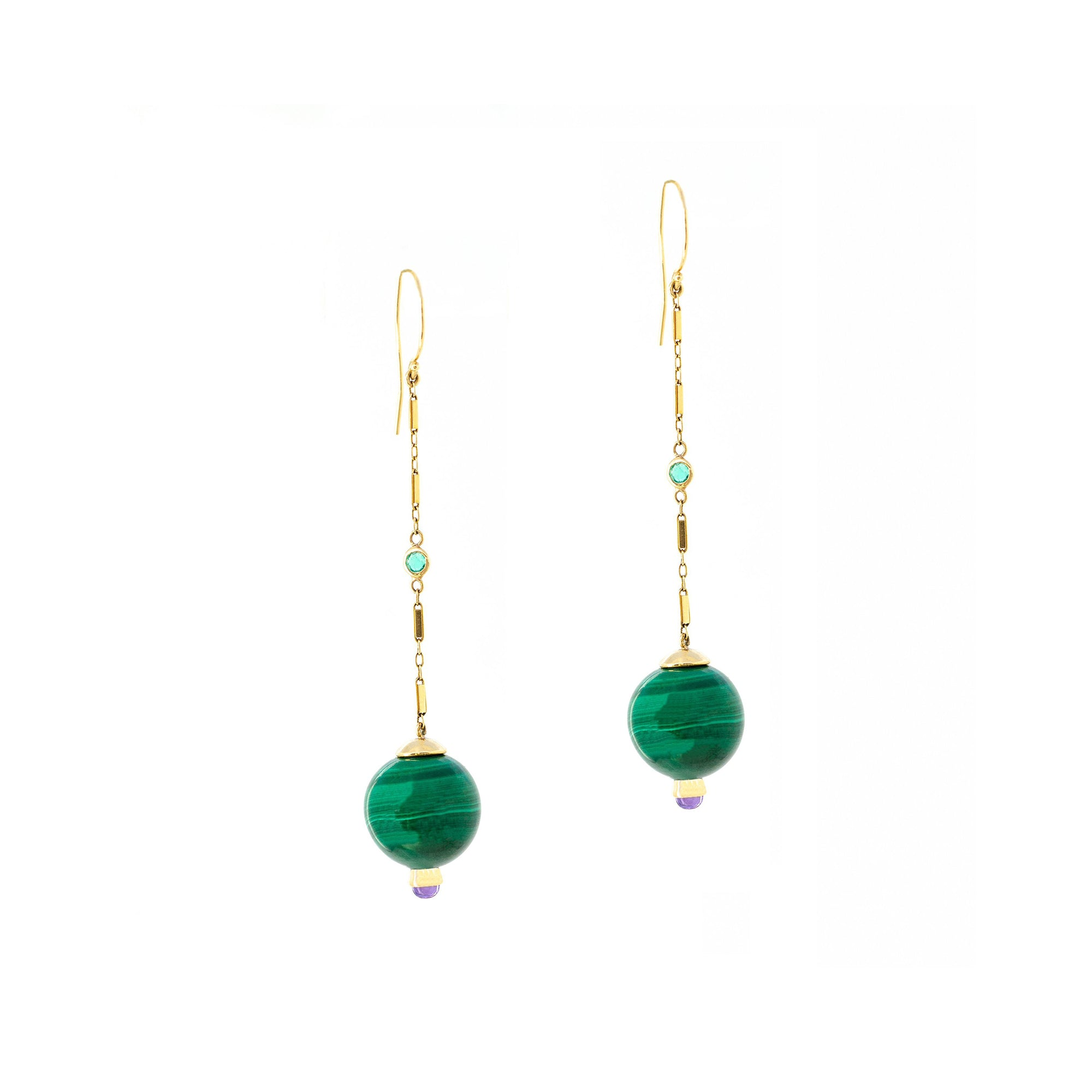 Haute Victoire Malachite & Amethyst Earrings - Earrings - Broken English Jewelry