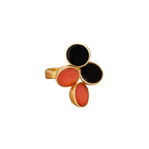 Vintage Coral and Onyx Ring
