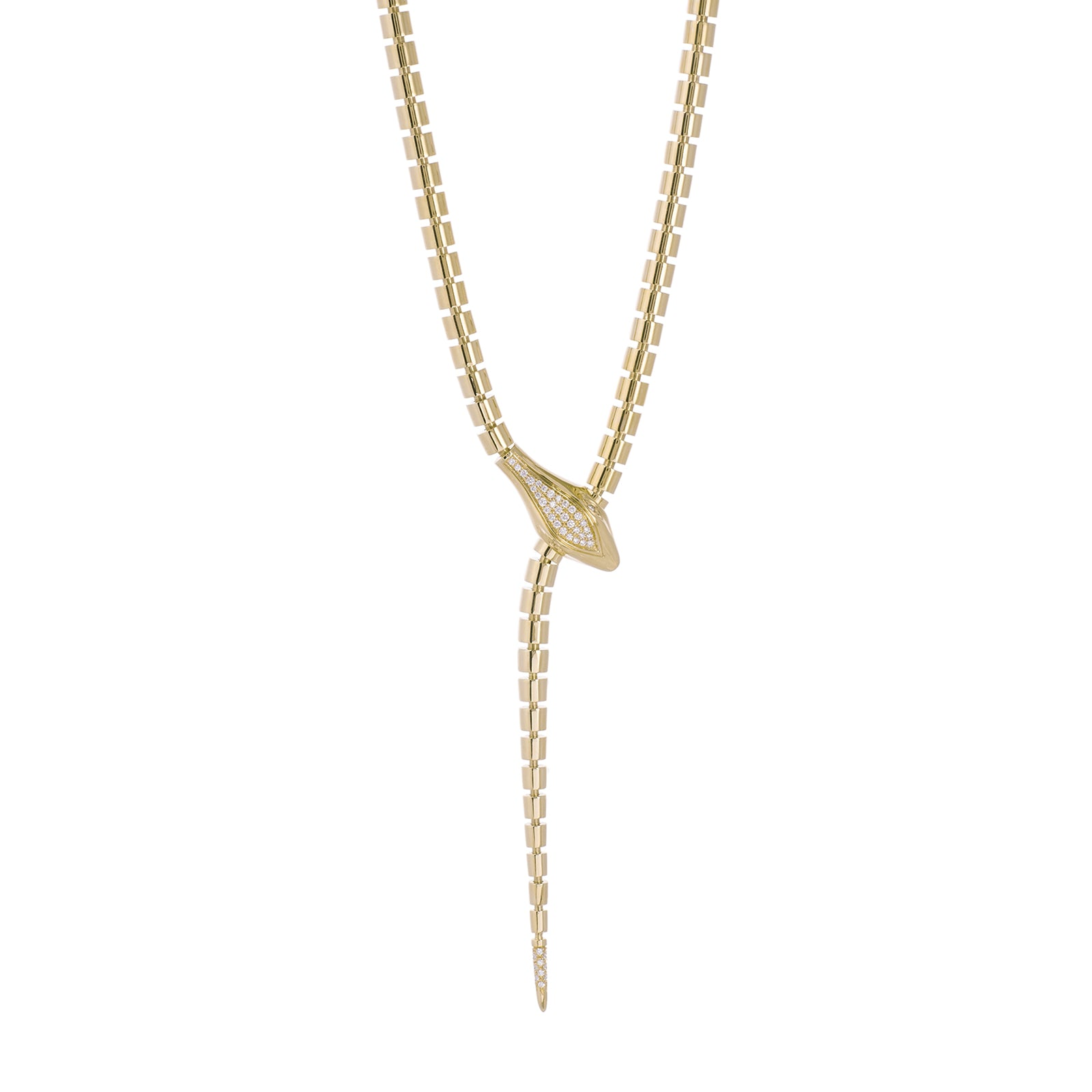 Sidney Garber Wrap Around Snake Lariat Necklace - Yellow Gold - Necklaces - Broken English Jewelry