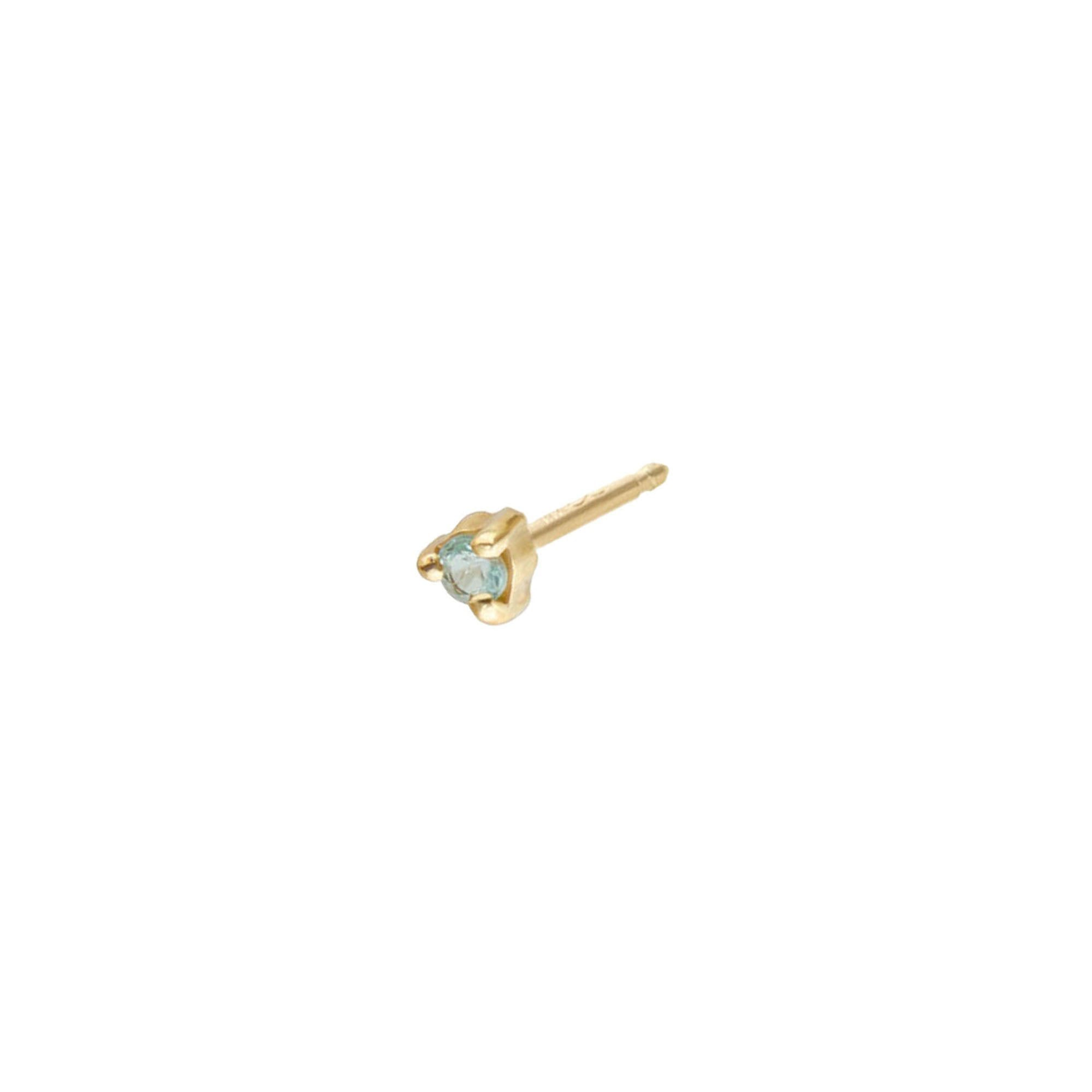 gold Small Blue Tourmaline Stud by Wwake for Broken English Jewelry
