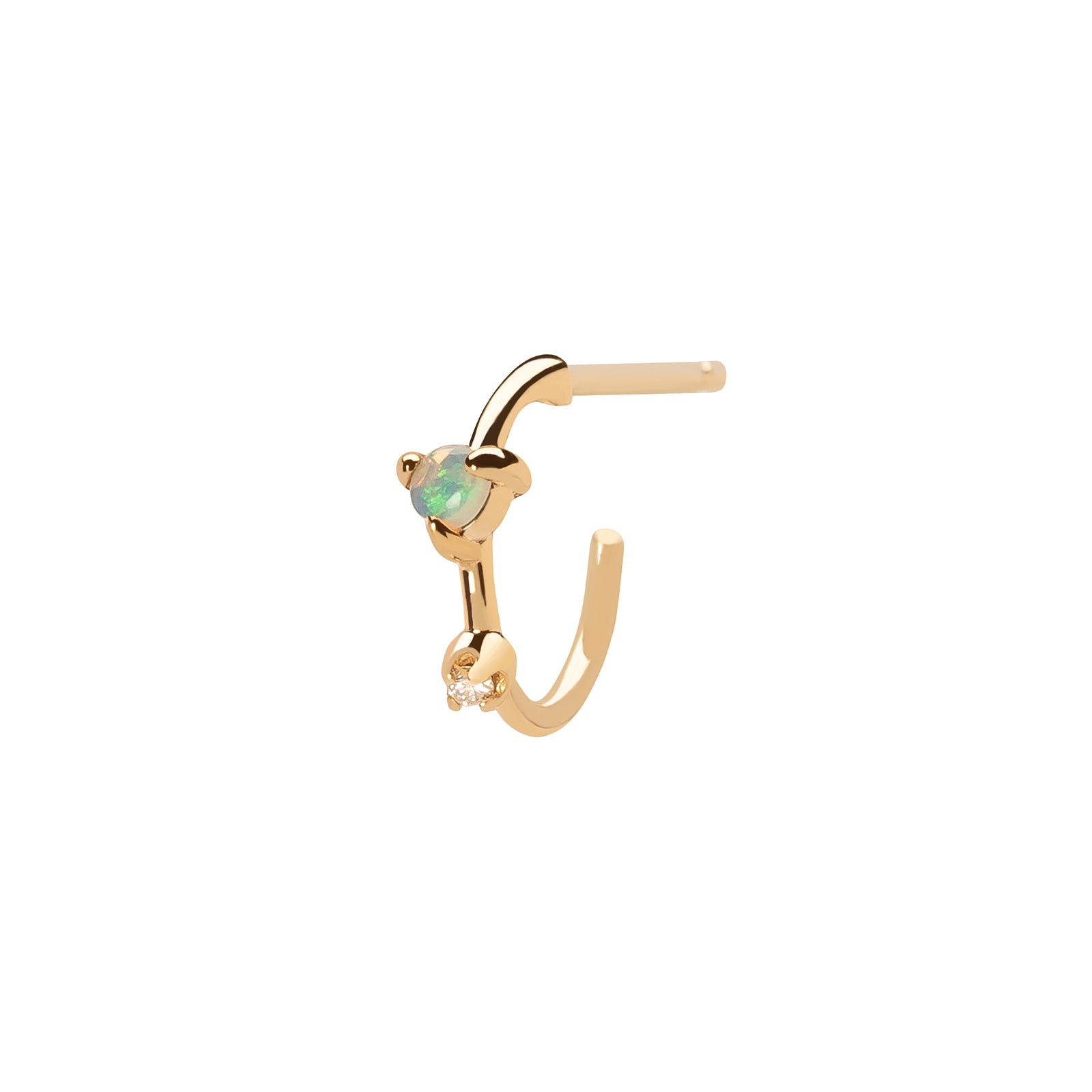 WWAKE Mini Two-Step Hoop Earring - Opal & Diamond - Earrings - Broken English Jewelry