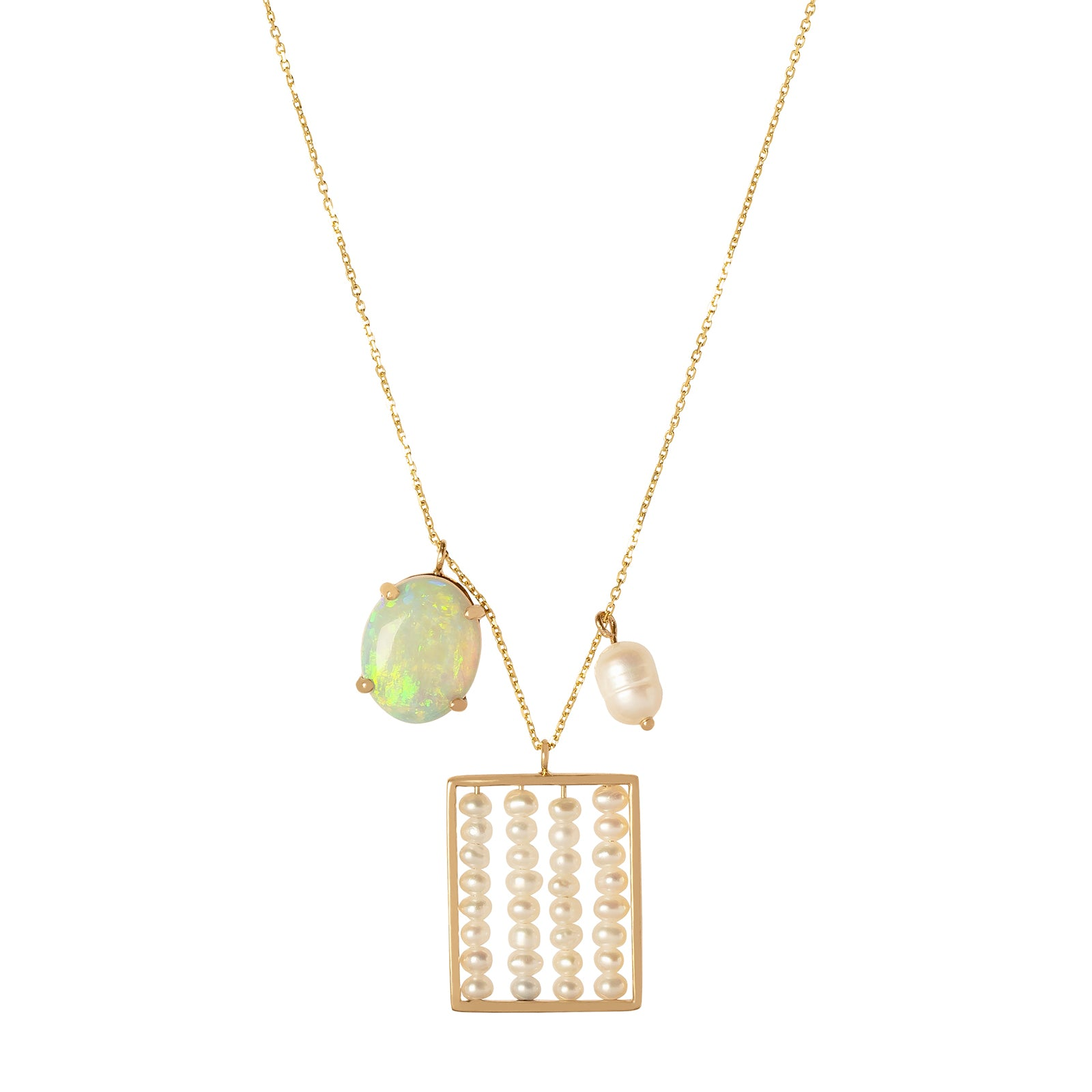 WWAKE Charm Necklace - Opal & Pearl - Necklaces - Broken English Jewelry