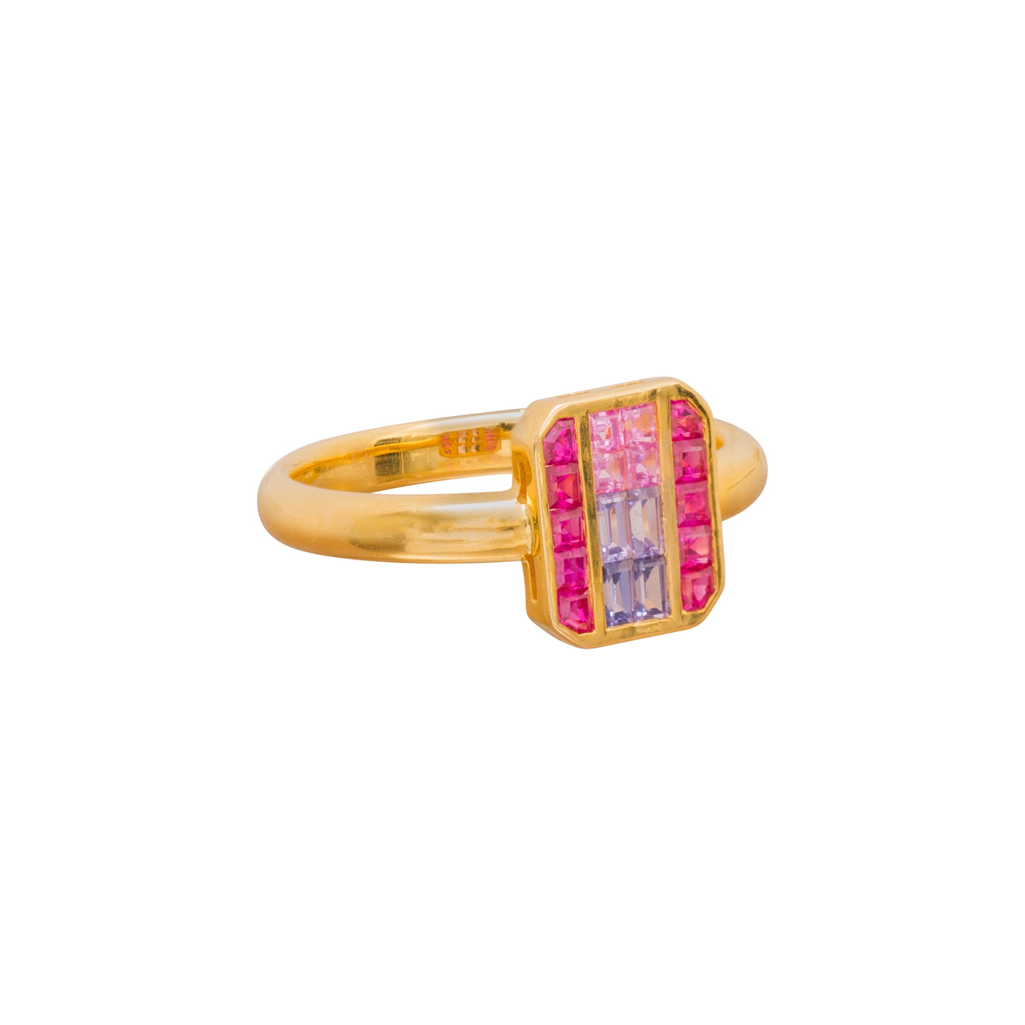 Ruby and Fancy Sapphire Cushion Ring by Kavant & Sharart for Broken English Jewelry