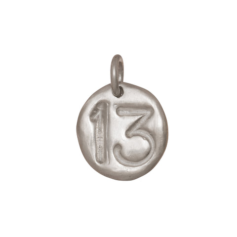 Large Silver Thirteen Pendant by James Colarusso for Broken English Jewelry