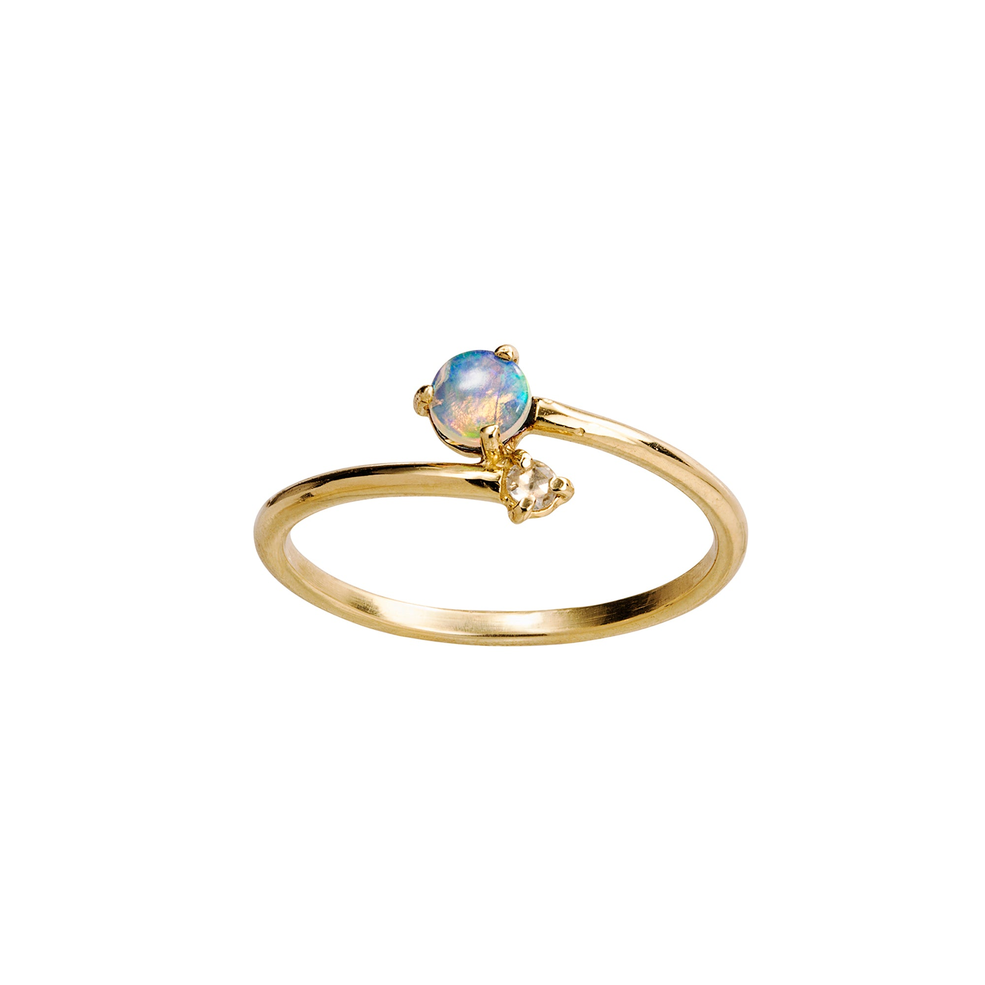 WWAKE Opal and Diamond Cross Over Ring - Rings - Broken English Jewelry