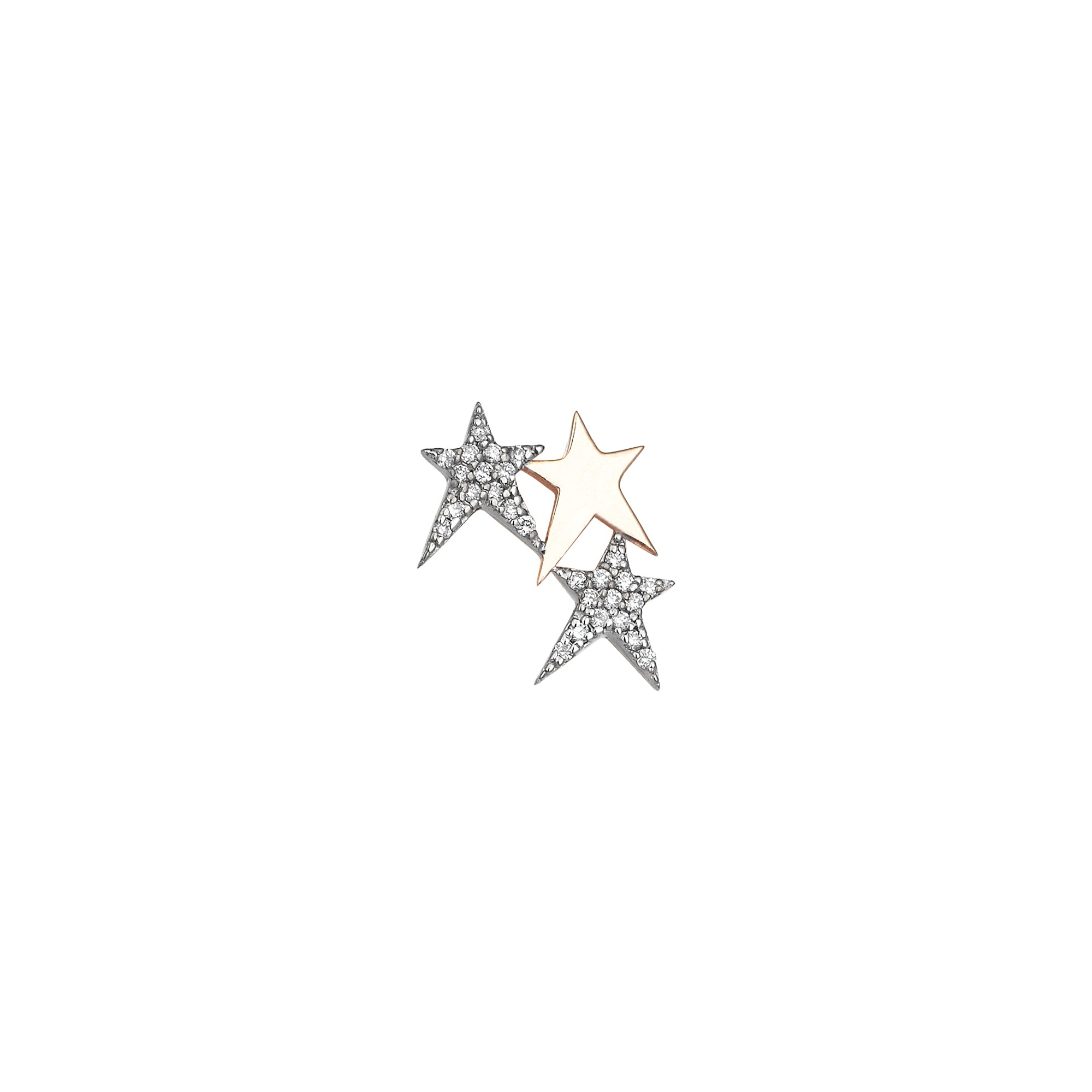 3 Struck Star Earring - Kismet by Milka - Earrings | Broken English Jewelr