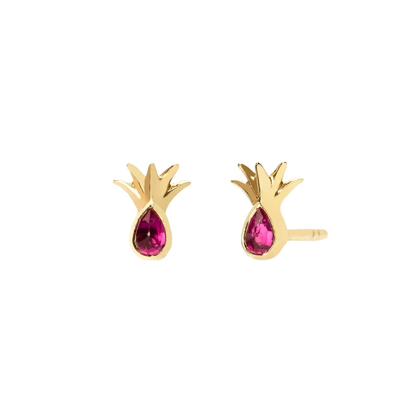 Celine Daoust Pineapple Leaf Earrings - Ruby - Earrings - Broken English Jewelry