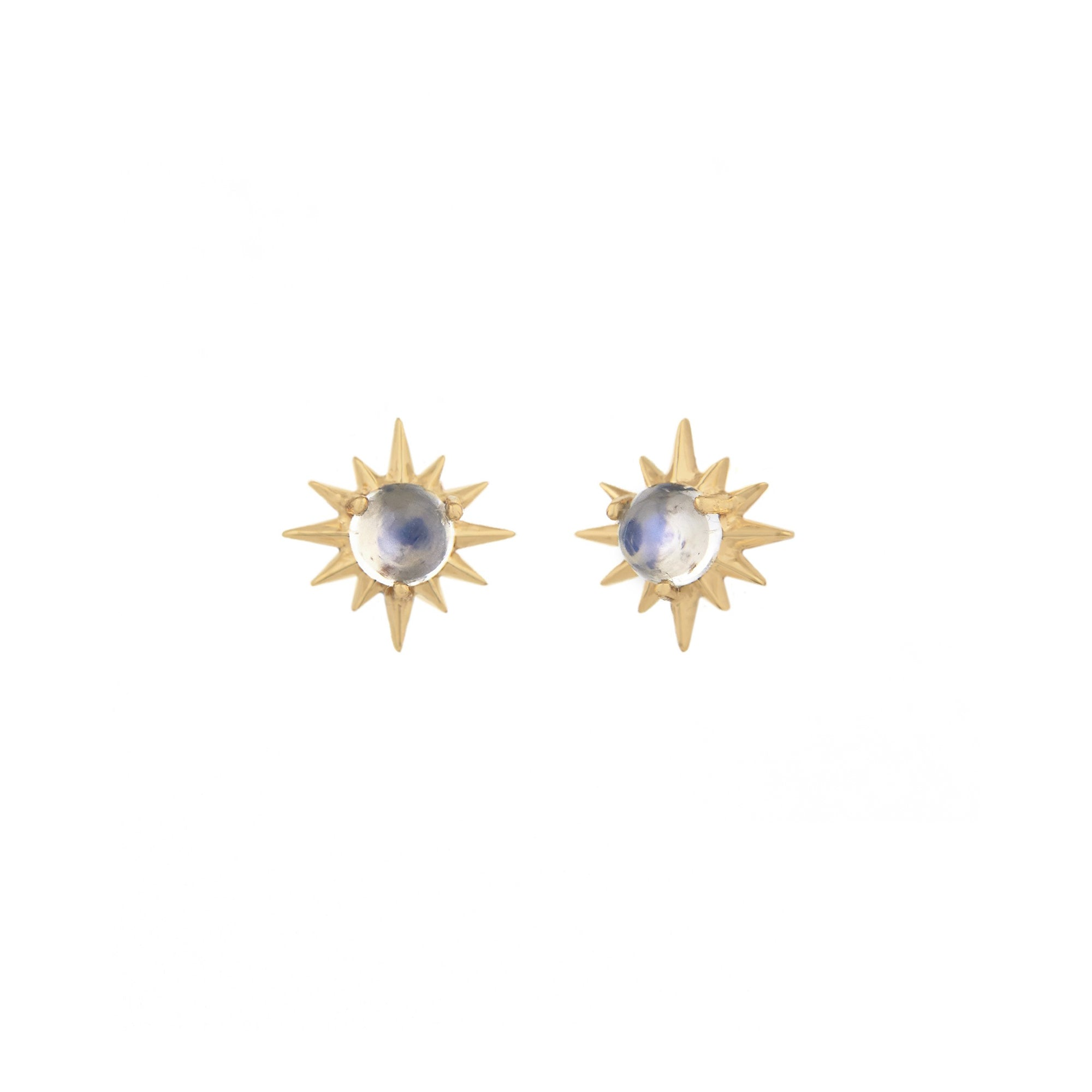 Moonstone Sun Studs by Celine Daoust for Broken English Jewelry