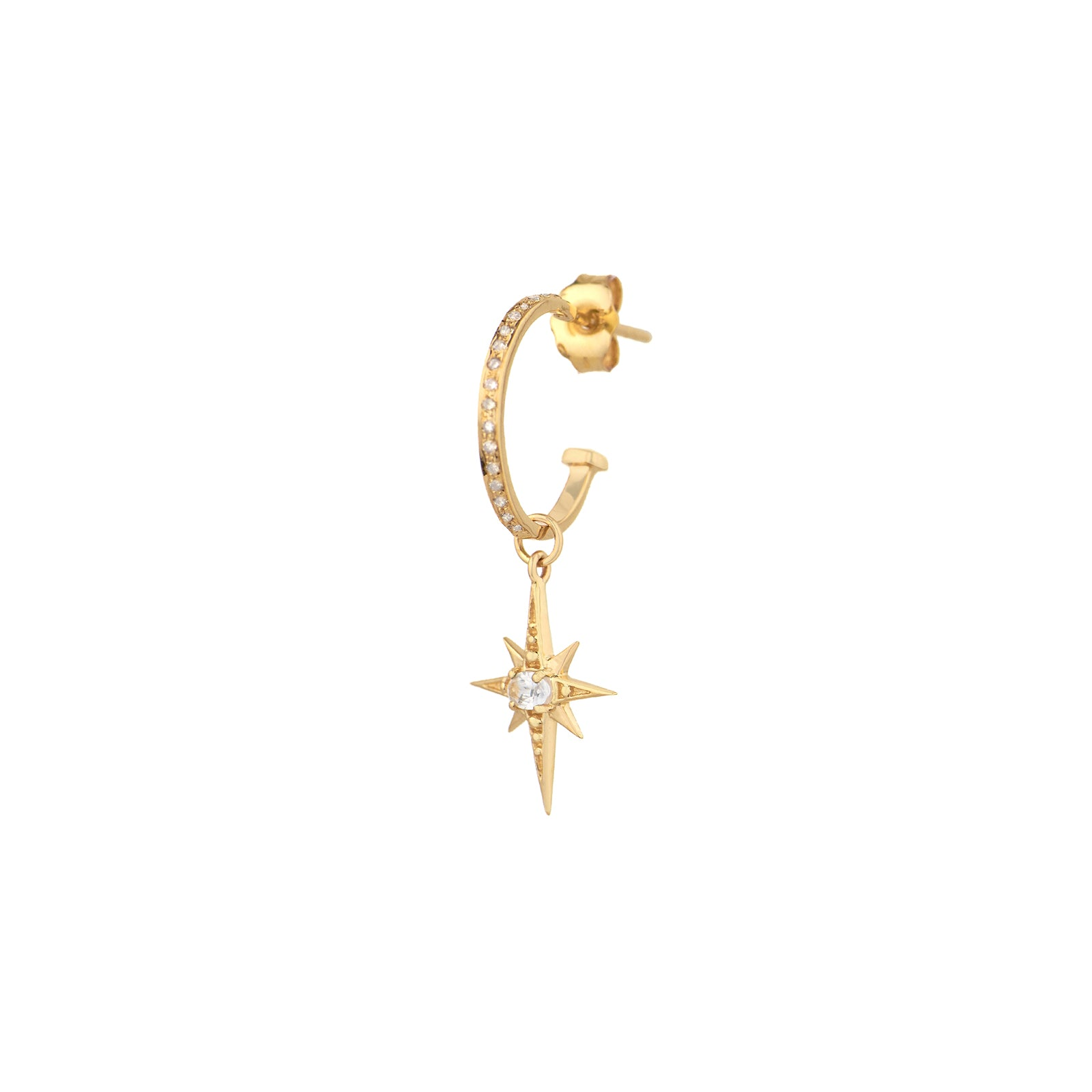 Celine Daoust North Star Charm Hoop Earring - White Diamond - Earrings - Broken English Jewelry