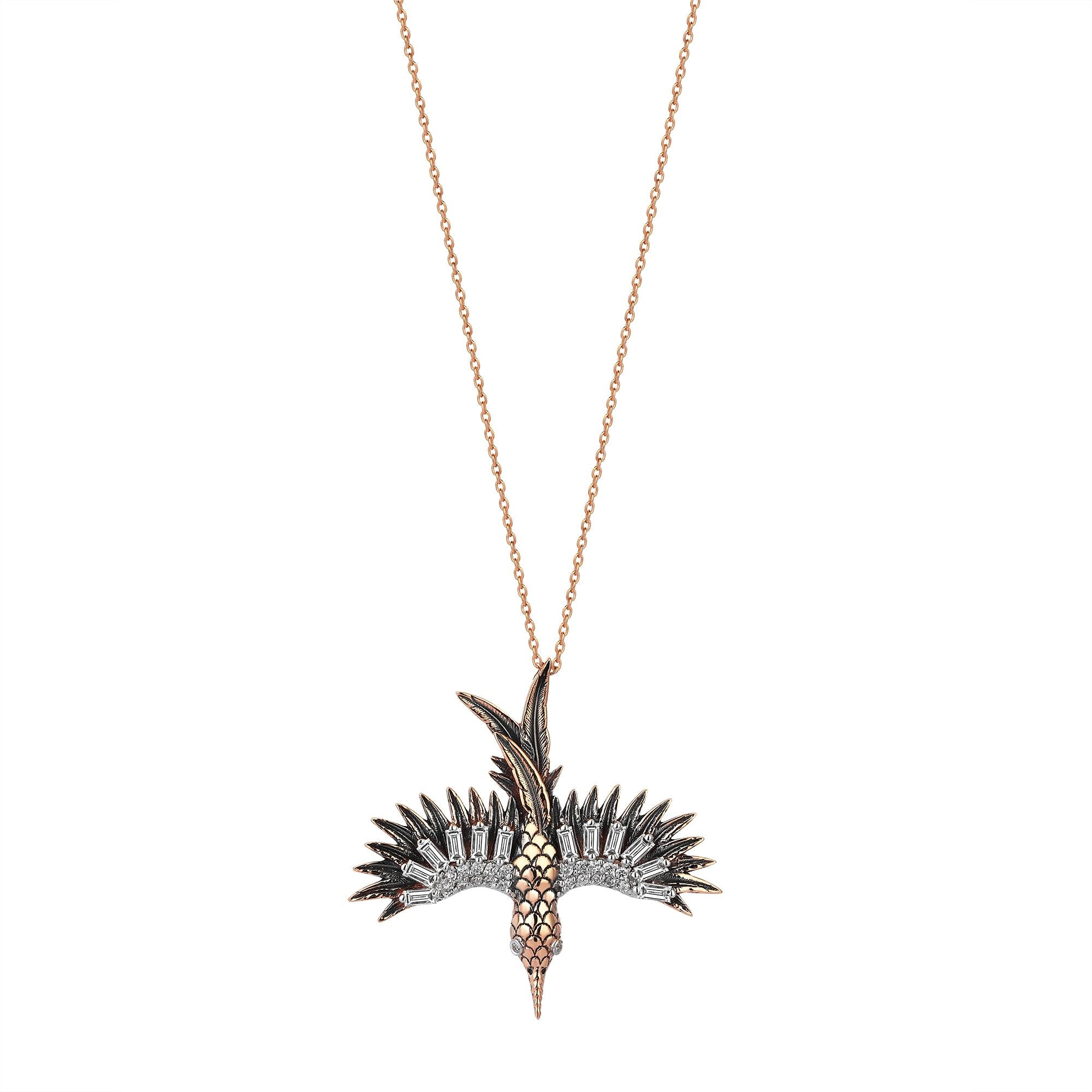 Baguette Diamond Encrusted Phoenix Necklace - Kismet by Milka - Necklaces | Broken English Jewelry