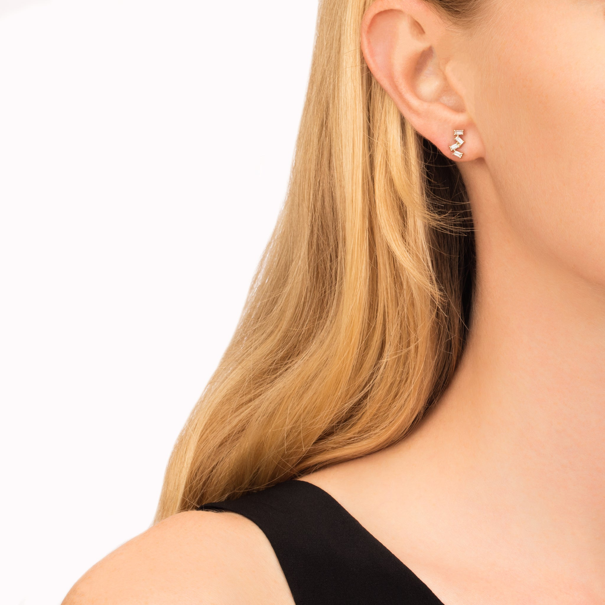 Spilling Baguette Stud Earring - Kismet by Milka - Earrings | Broken English Jewelry