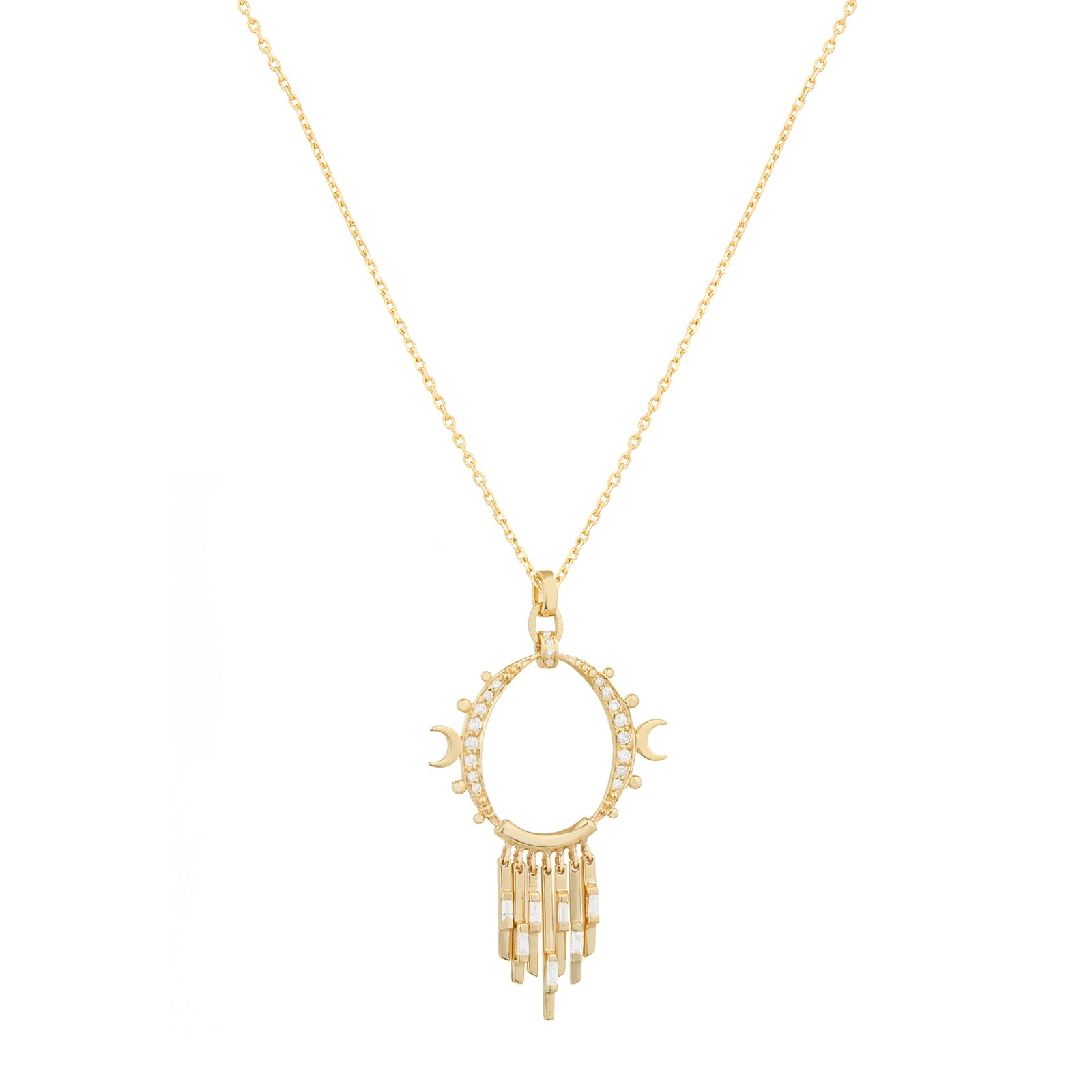 Celine Daoust Moon Crescents & Dangling Diamond Necklace - Necklaces - Broken English Jewelry