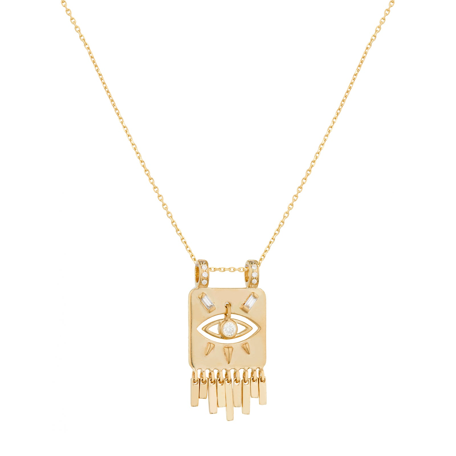 Celine Daoust Small Gold Plate & Dangling Eye Necklace - Necklaces - Broken English Jewelry