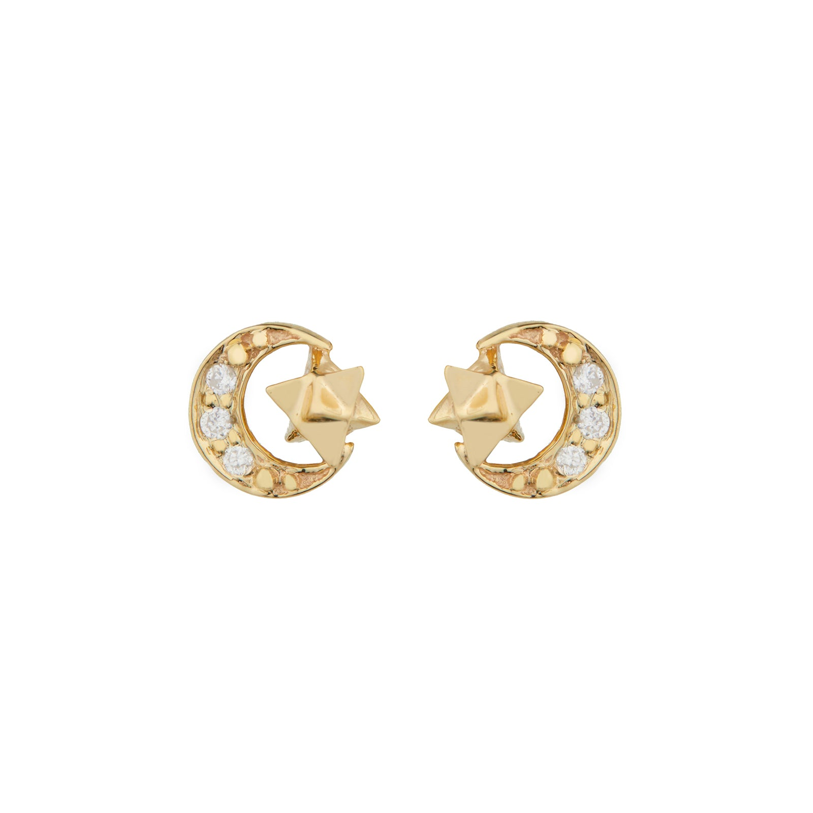 Celine Daoust Moon Merkaba Earrings - Diamond - Earrings - Broken English Jewelry