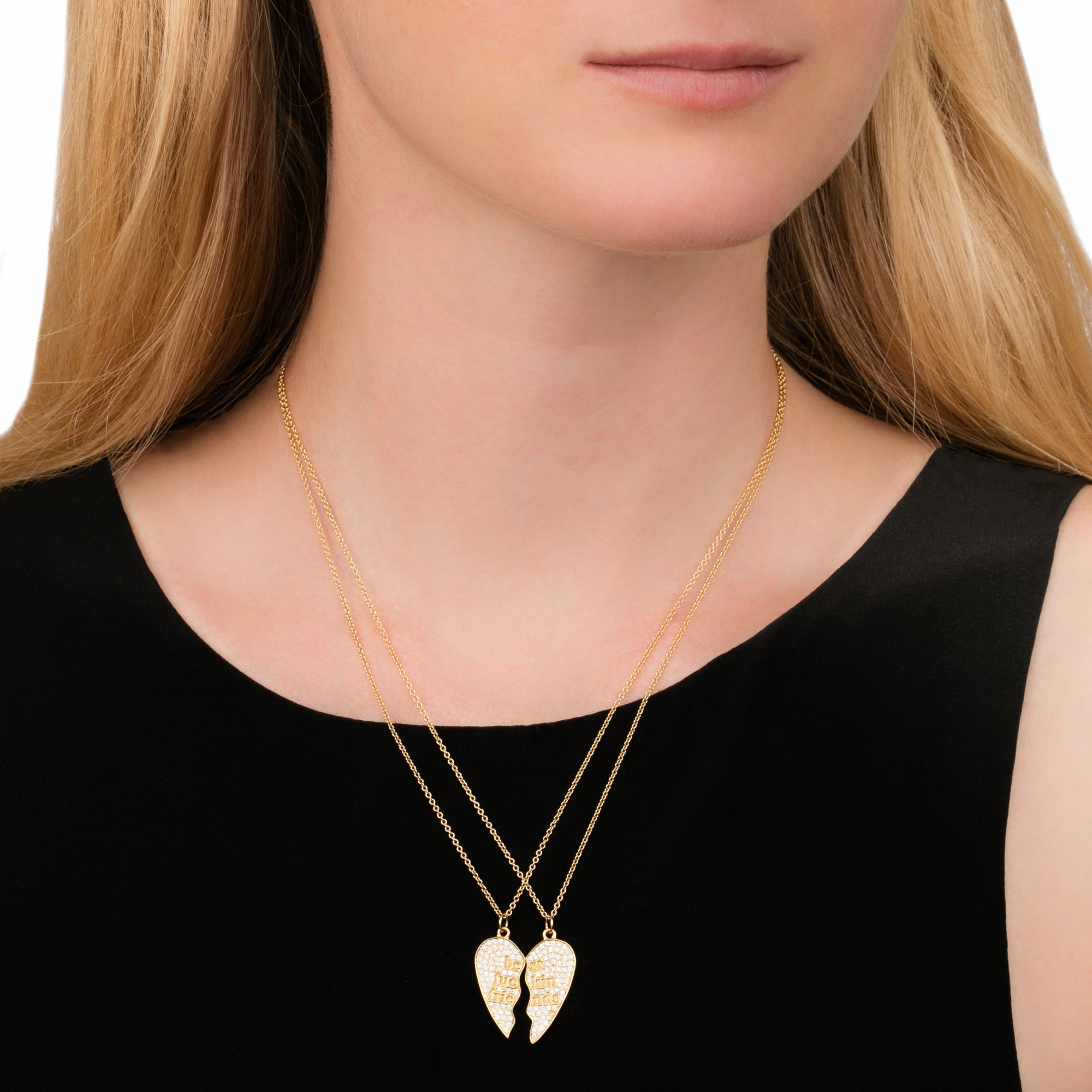 Established Jewelry BFF 2-Piece Heart Necklace - Necklaces - Broken English Jewelry