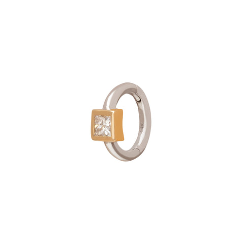 Square Bezel Huggie 5mm - Trouver - Earrings | Broken English Jewelry