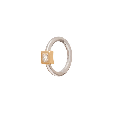 Square Bezel Huggie 6.5mm - Trouver - Earrings | Broken English Jewelry