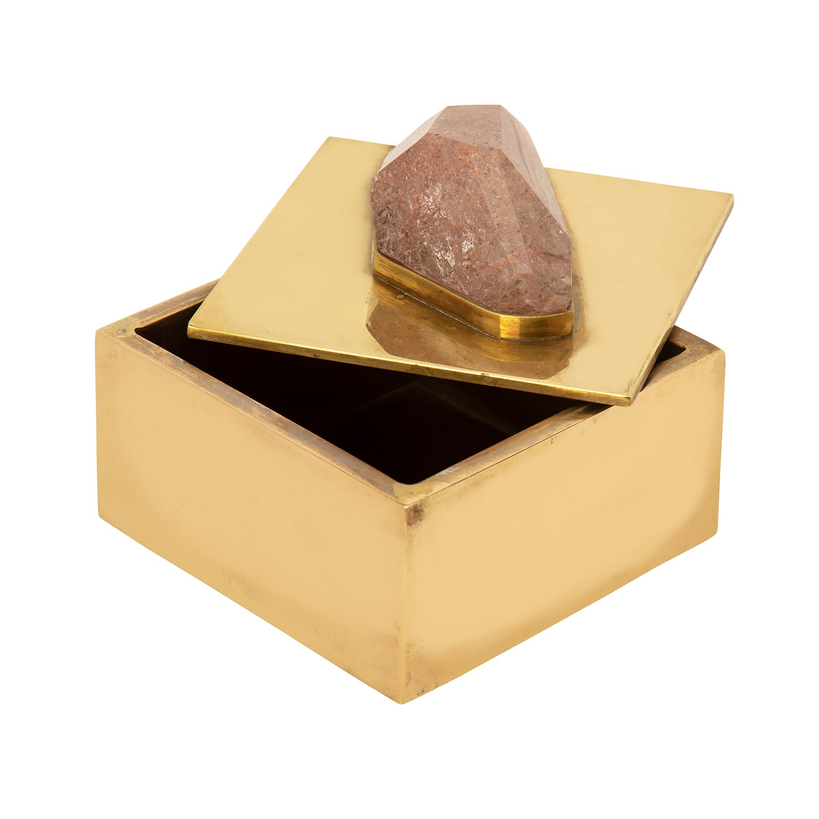 Broken English Home Small Brass & Crushed Stone Box - Home & Decor - Broken English Jewelry