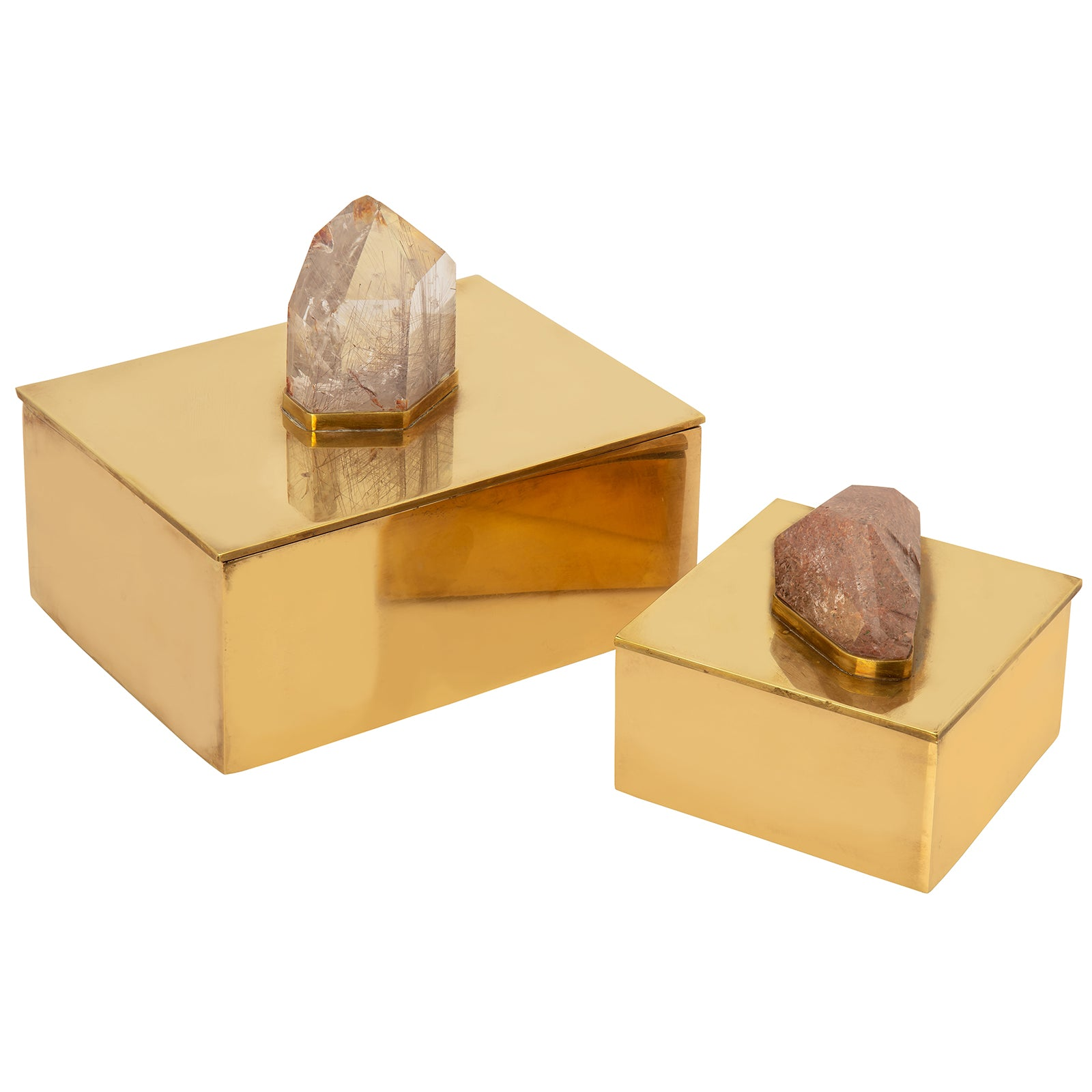 Small Brass & Pink Quartz Box