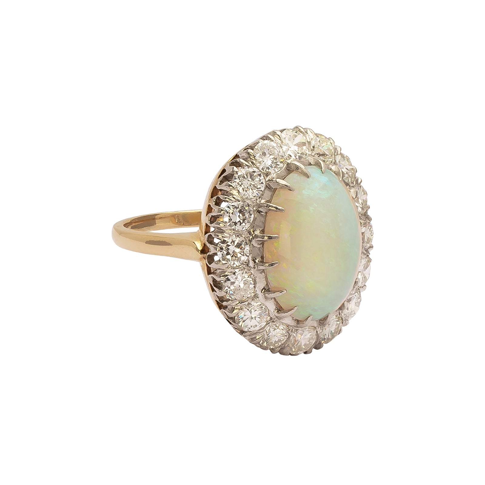 Antique & Vintage Jewelry Opal & Diamond Ring - Rings - Broken English Jewelry
