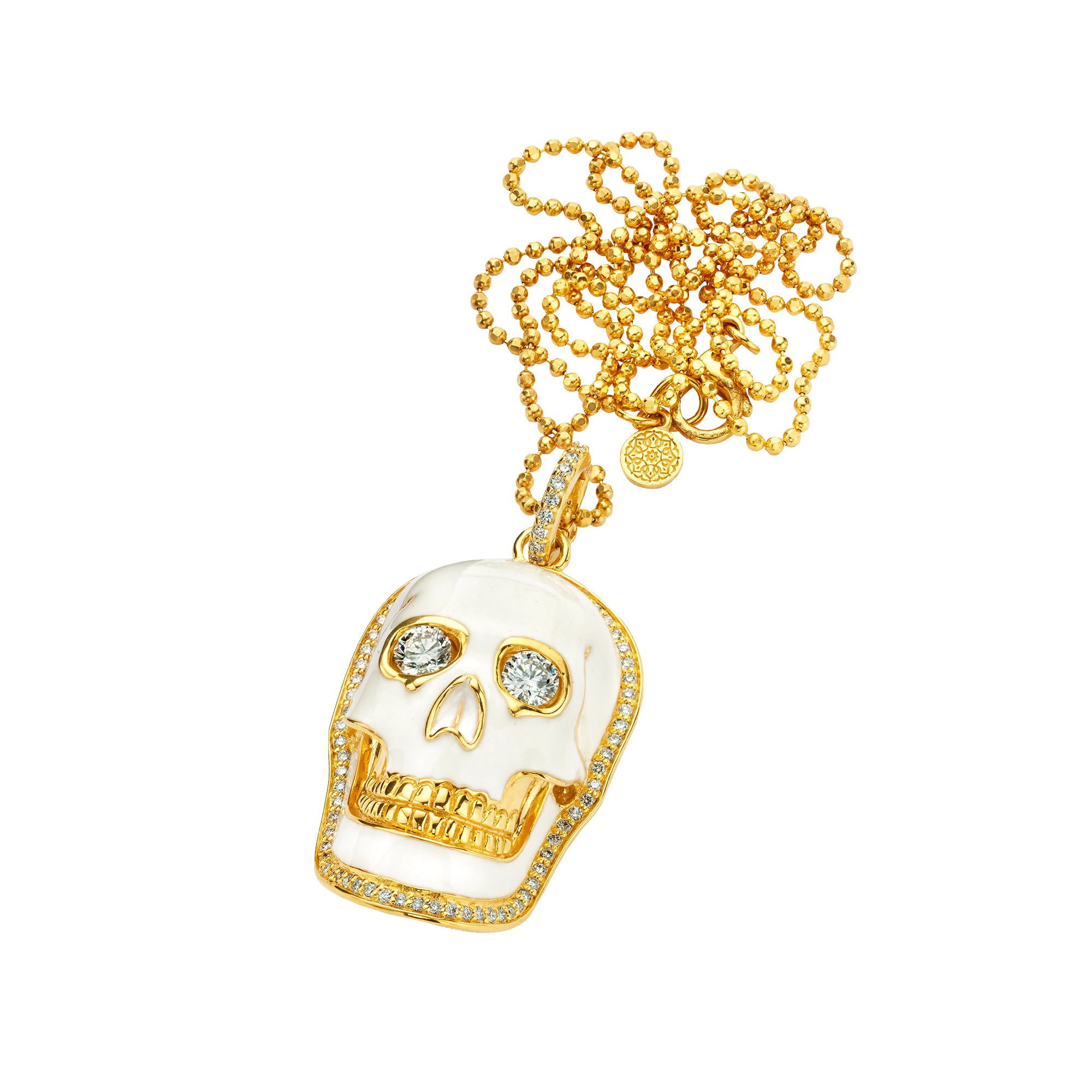 White Enamel Diamond Skull Pendant - Buddha Mama - Charms & Pendants | Broken English Jewelry