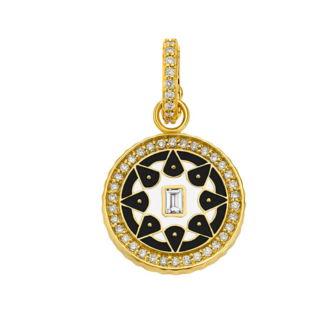 Small Black & White Enamel Mandala Pendant  - Buddha Mama - Charms & Pendants | Broken English Jewelry