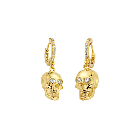 Small Gold Skull Earrings - Buddha Mama - Earrings | Broken English Jewelry