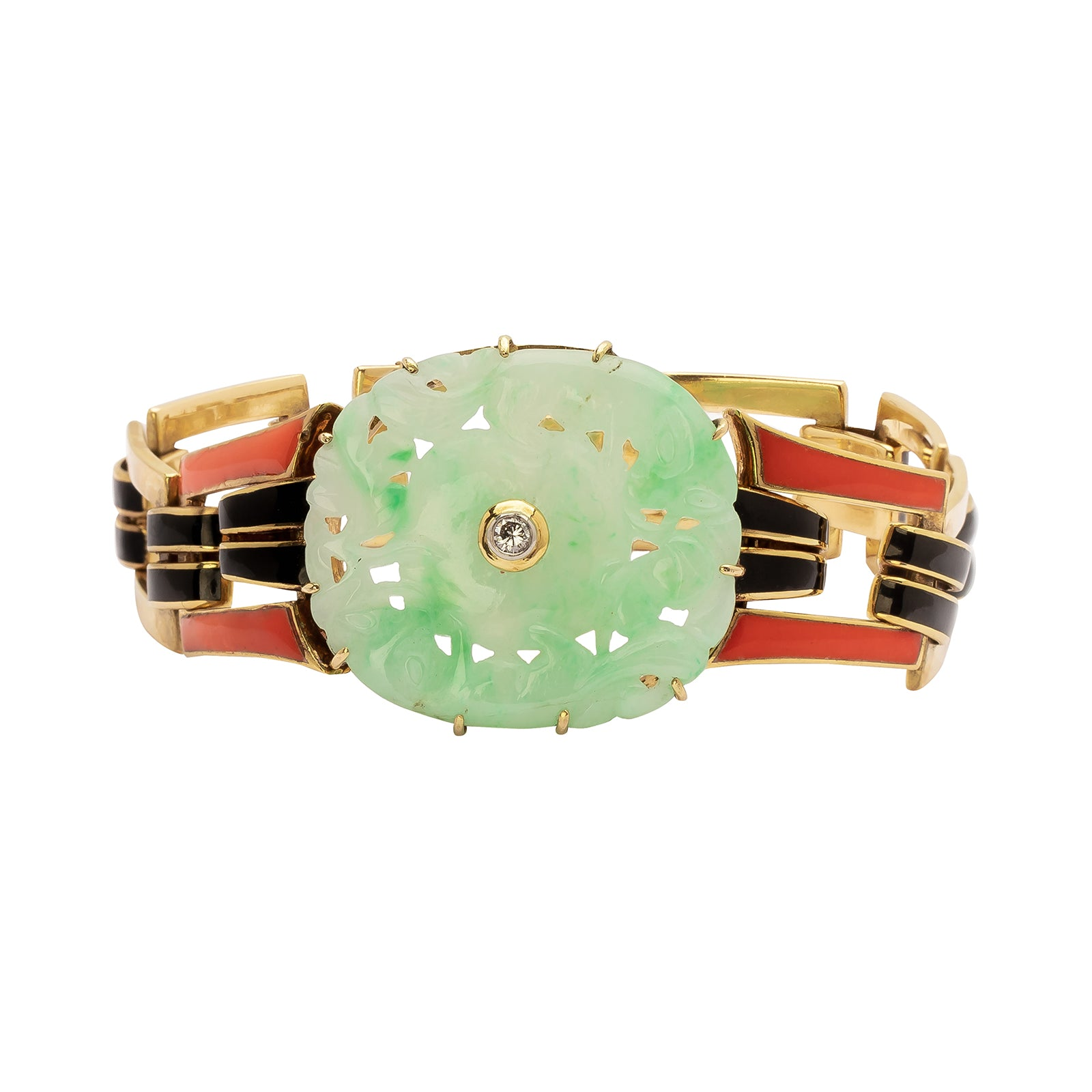 Antique & Vintage Jewelry Cartier Jade & Enamel Bracelet - Bracelets - Broken English Jewelry