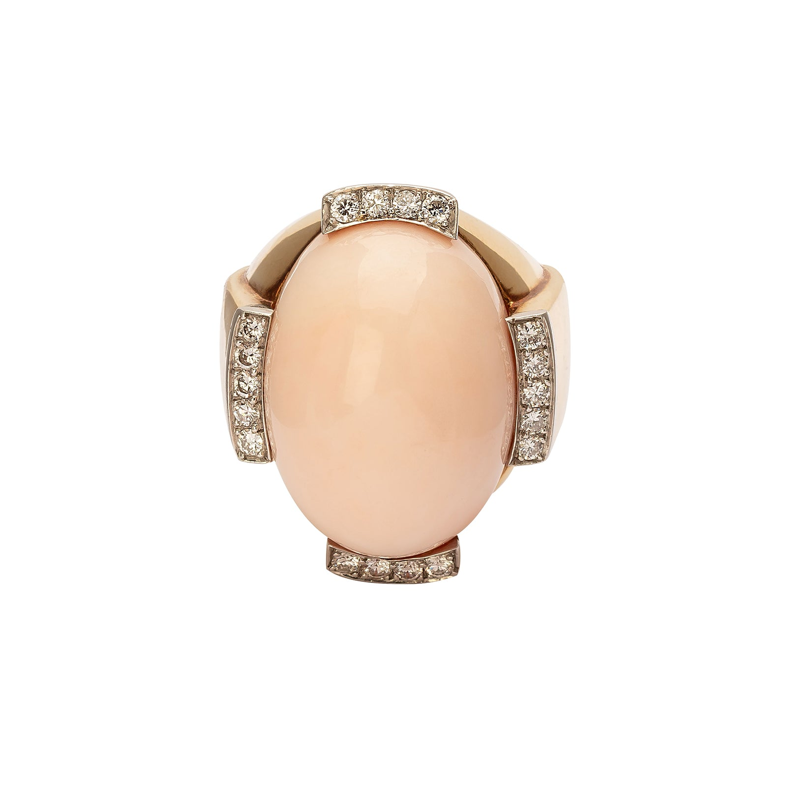 Antique & Vintage Jewelry David Webb Angel Skin Coral & Diamond Cocktail Ring - Rings - Broken English Jewelry