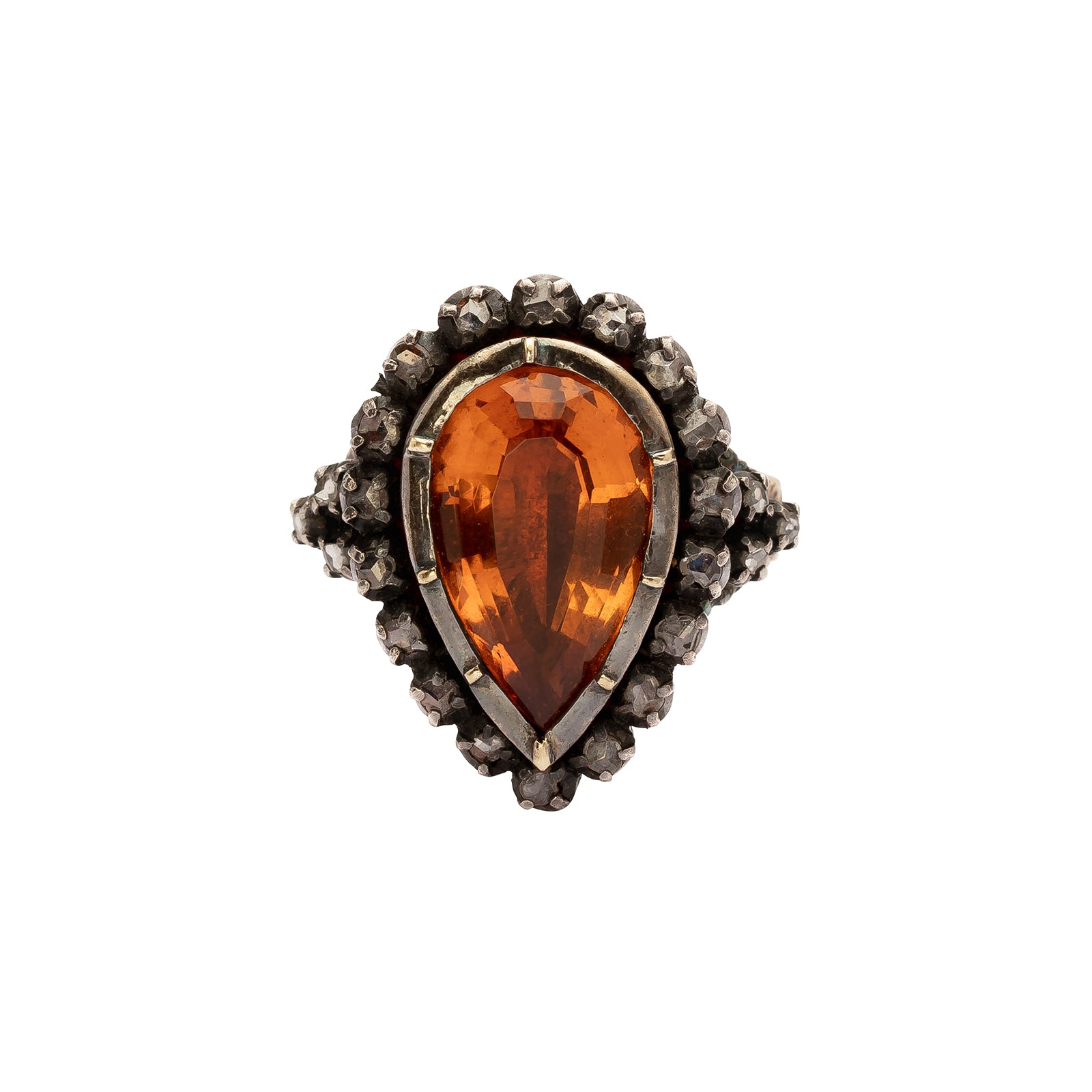 Antique & Vintage Jewelry Pear Shaped Citrine & Diamond Ring - Rings - Broken English Jewelry