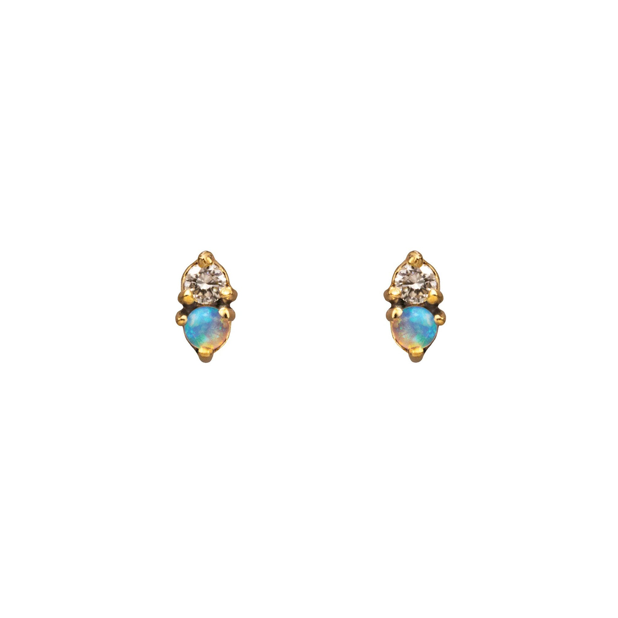 WWAKE Two Step Opal and Diamond Earrings - Earrings - Broken English Jewelry