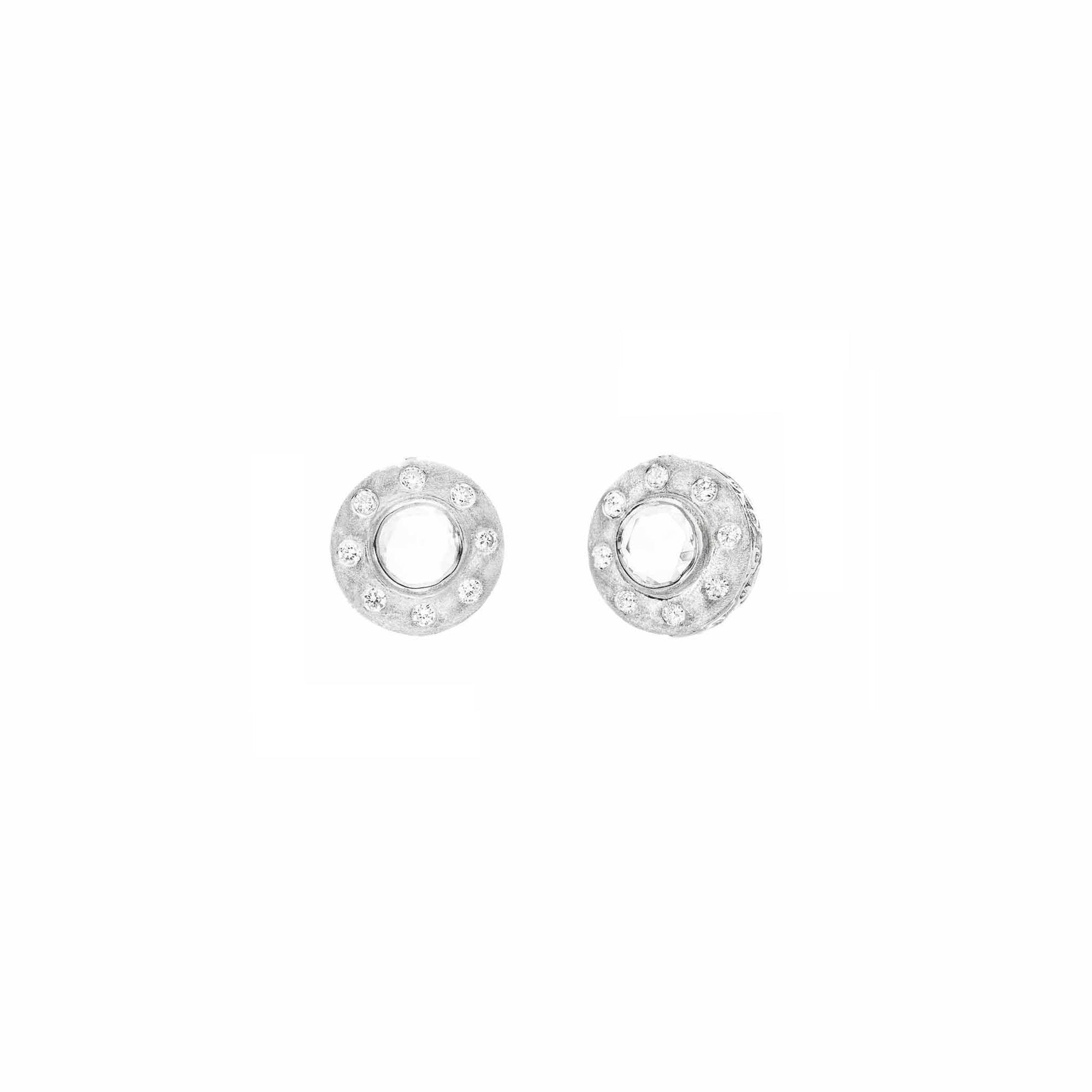 Sethi Couture The Dunes Stud Earrings - White Gold - Earrings - Broken English Jewelry